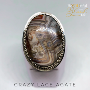 Crazy Lace Agate and Sterling Silver Ring