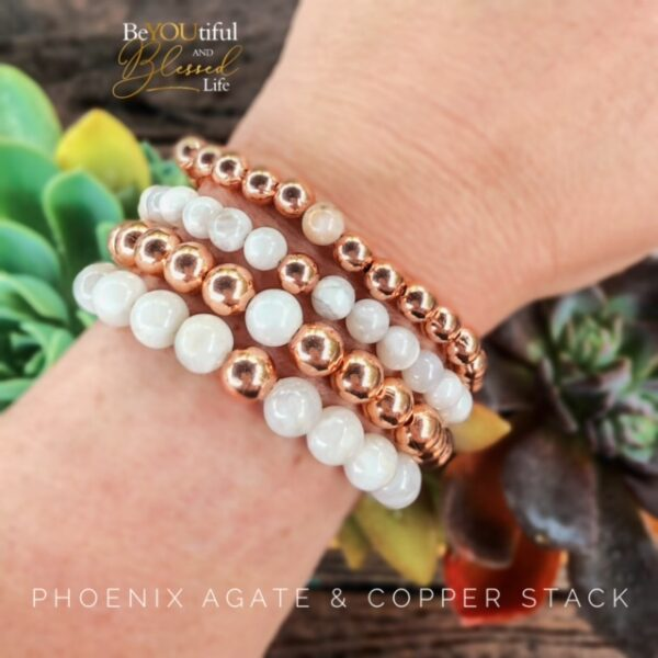 Phoenix Agate and Copper bracelet stack